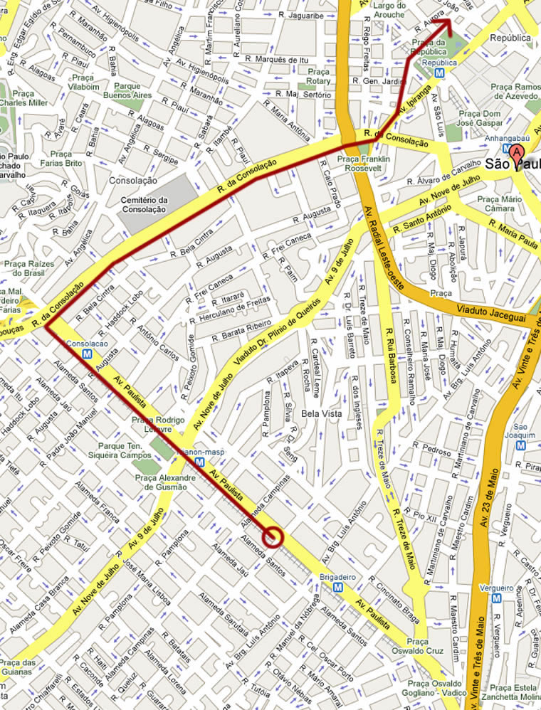Sao Paulo Gay Pride Parade - June 10, 2012, Map